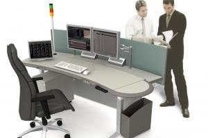SPLIT LEVEL - TWIN PLATFORM CONTROL CONSOLE - ELECTRIC HEIGHT ADJUSTMENT